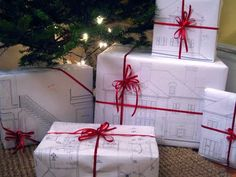 Repurposed architectural plans as wrapping paper. Beautiful.