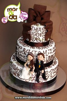 Unique wedding cake with text. | wedding cake design | cakes with writing | brown wedding color scheme | sugar art brown and groom |