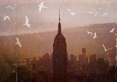 "New York City - 8x10 photograph - ""Birds over Manhattan"" - fine art print - vintage photography - whimsical nursery art  - NYC skyline. $25.00, via Etsy."