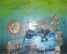 Ein hammer Bild, hier hat die Künstlerin eine echte Dieseljean verarbeitetn.. mehr unter www.tina-kunst.at Diesel, Painting, Art, Abstract Pictures, Kites, Art Ideas, Diesel Fuel, Art Background, Painting Art