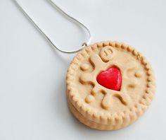Claytime designs   Jammy Dodger Biscuit Necklace