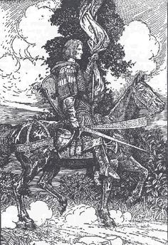"""How Tristram Rode Away to Tintagil"", Louis Rheade."
