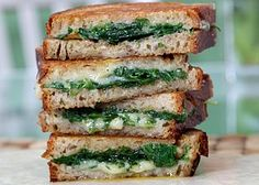 Grilled Cheese Sandwich with Garlic Confit Arugula and EVOO