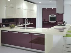 Purple High Glossy Kitchen Design Ipc408 - High Gloss Kitchen Cabinet Design Ideas 2015 - Al Habib Panel Doors