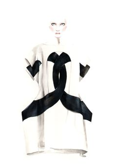 Fashion illustration - chic black & white fashion drawing of Comme des Garçons dress
