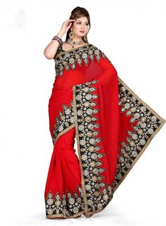Magnificient Red Chiffon Based Embroidered #Saree