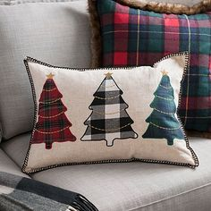 This adorable Plaid Trees Accent Pillow is a wonderfully unique holiday decoration. The three different plaid trees complement each other so well. Diy Pillow Covers, Diy Pillows, Accent Pillows, Decorative Throw Pillows, Christmas Applique, Christmas Sewing, Plaid Christmas, Xmas, Christmas Cushions