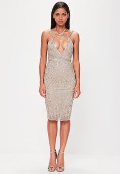 Missguided - Peace   Love Nude Low Back Embellished Midi Dress