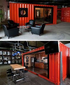 Industrial Design Architecture Shipping Container Homes - On the two pictures, there is a room made of shipping containers that are no longer used. Industrial Bookshelf, Industrial Bedroom, Industrial Interiors, Industrial Loft, Industrial Design, Industrial Wallpaper, Industrial Apartment, Industrial Living, Container Shop