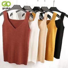 Buy GOPLUS 2018 Sexy Crop Top Knitted Summer Tank top Women Blouse  Sleeveless V Neck Top Female t-shirt Vest Casual Camis streetwear 76de129bcb3ac