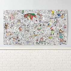 Shop Funny Farm Giant Coloring Poster.  This is like no petting zoo we've ever seen! In a sprawling design that celebrates the absurd, you'll find donkeys wearing top hats and kicks, pigs munching on pizza, dogs playing cards and cows skateboarding.