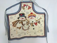 Dianna Marcum Snow Buddies Snowman Bib Apron Handmade Cotton  #Handmade #Country