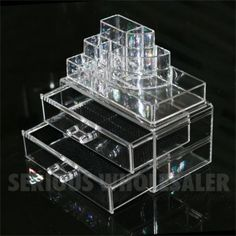 Makeup Jewelry Organizer Crystal Clear 2 Drawers Lipstick Grids Display Box