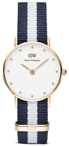Love the navy blue and white striped Daniel Wellington classy glasgow watch on ShopStyle