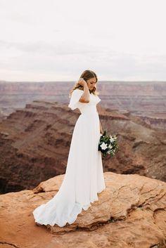 % The Perfect Dress Mormon Wedding Dresses, Temple Wedding Dresses, Boho Wedding Dress, Dream Wedding Dresses, Wedding Gowns, Bridal Photography, Feather Photography, Bridal Pictures, Summer Wedding
