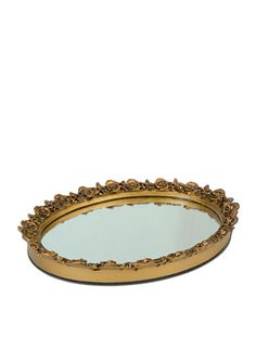 An elegant way to display all of your perfumes and toiletries, this oval resin mirror tray has an antique finish with a decorative rose border.
