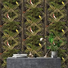 This high quality wallpaper could be used to create an interesting feature wall or would look equally as good running throughout a room. A beautiful art deco inspired wallpaper. Paste the paper wallpaper. Geometric Wallpaper Black, Metallic Wallpaper, Tree Wallpaper, Paper Wallpaper, Vinyl Wallpaper, Art Deco Wallpaper Uk, Funky Wallpaper, Wallpaper Furniture, Scenic Wallpaper