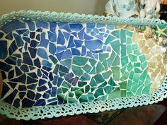 Aqua Blue Beach Themed Mosaic Vintage Dresser by mosaicwhimsey, $45.00