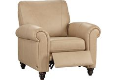 picture of Cindy Crawford Home Lusso Taupe Leather Recliner  from  Furniture