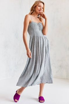 Shop the Kimchi Blue Gauzy Smocked Midi Dress and more Urban Outfitters at Urban Outfitters. Read customer reviews, discover product details and more.