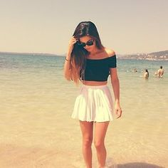 Beach- cute crop short skirt
