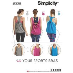 Simplicity Pattern 8338 Misses' Knit Sports Tops with Back Variations