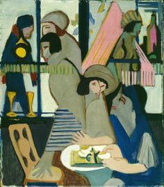 Ernst Ludwig Kirchner (1880 -1938) is de belangrijkste vertegenwoordiger van het Duits expressionisme en wordt door velen gezien als voorman van Die Brücke (de Brug), een kunstenaarscollectief dat van 1905 tot 1913 actief was en later uiteenviel.-Cafe, 1928