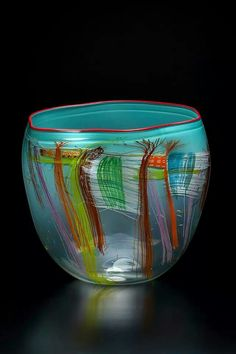 Dale Chihuly, Aqua Soft Cylinder with Carmine Lip Wrap, 2014