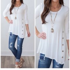 Side button tunic Fits true to size. Side button tunic. S(0-4) M(6-8) L(10-12). Price firm Tops Tunics