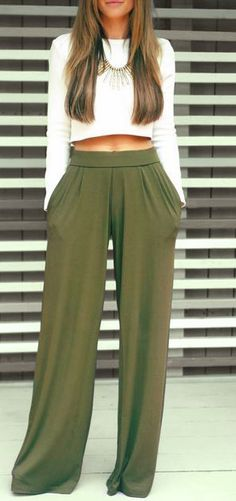 Wide pants are great, but don't give you much of a shape. Adding a long-sleeved crop top that shows off a sliver of your midriff makes even the widest pants instantly sexier – and more formal.