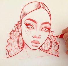 Drawings, cute drawings, girl drawing sketches, girl face drawing, am Girl Drawing Sketches, Cool Art Drawings, Pencil Art Drawings, Beautiful Drawings, Face Sketch, Drawing Faces, Drawing Ideas, Drawing Hair, Portrait Sketches