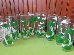 Vintage Libbey Tropical Collins Iced Tea Tall Drink Glasses Tumblers Set of 8 by peacenluv72 on Etsy