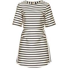 TOPSHOP Satin Stripe A-Line Dress