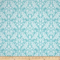 Riley Blake Medium Damask Aqua from @fabricdotcom  Designed by RBD Designers for Riley Blake, this cotton print is perfect for quilting, apparel and home decor accents.  Colors include white and aqua.
