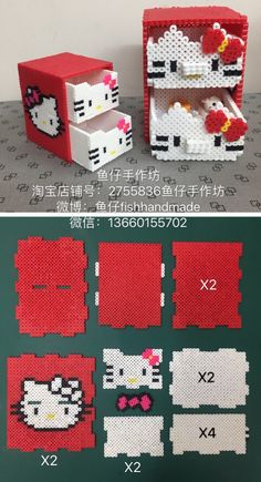 Hello Kitty Bügelperlen: https: - Jewelry Making Ideas Perler Bead Designs, Hama Beads Design, Diy Perler Beads, Pearler Bead Patterns, Perler Bead Art, Perler Patterns, Hamma Beads 3d, Fuse Beads, Pearler Beads