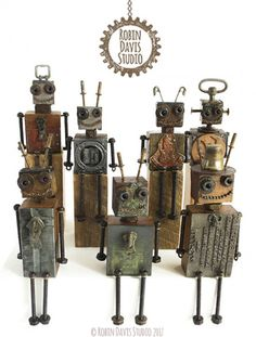 Typeset Block Robots by Robin Davis Studio Recycled Robot, Recycled Art, Found Object Art, Found Art, Sculpture Art, Sculptures, Robots Drawing, Tin Can Art, Arte Robot