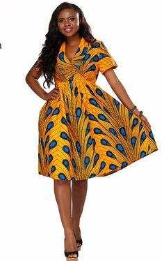 African Ankara Print Midi v-neck Dress