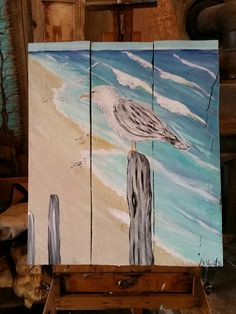 Seagull by the ocean art by Stacie Sheets