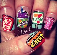 your nails dont always need to be plain or spakly, Mix it up with your fav foods! Funky Nail Art, Funky Nails, Cute Nails, Pretty Nails, Beautiful Nail Designs, Cute Nail Designs, Hair And Nails, My Nails, Food Nail Art