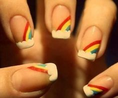 rainbow nails :) I tried this. It looked like a rainbow threw up...