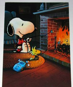 Snoopy and Woodstock roasting marshmallows