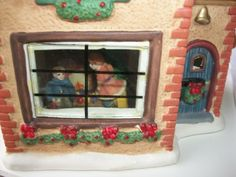 CHRISTMAS HOUSE - Hand Painted Porcelain Christmas Village Collectibles  Holiday house decor -- a house that lights up with wreaths, holly, bells and more.