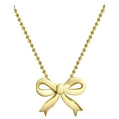 Alex Woo 'Little Princess' Bow Pendant Necklace ($748) ❤ liked on Polyvore featuring jewelry, necklaces, accessories, bijoux, colares, polish jewelry, handcrafted jewelry, bow necklace, hand crafted jewelry and bow jewelry