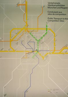 Munich 1972 Olympics Transport Map - Otl Aicher