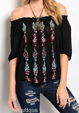 NEW Bohemian Colorful EMBROIDERED Off Shoulder PEASANT Top Shirt BOHO SML