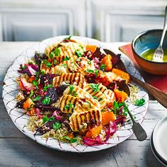 A cheese and grain salad with vibrant roast beetroot, squash and red onion. It tastes as good as it looks, plus it's 3 of your # Roasted vegetable quinoa salad with griddled halloumi Veggie Dishes, Veggie Recipes, Vegetarian Recipes, Healthy Recipes, Vegetarian Cooking, Healthy Dishes, Hallumi Recipes, Veggie Food, 5 A Day Recipes