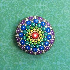Jewel Drop Mandala Painted Stone Sacred Geometry by ElspethMcLean