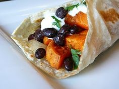 Sweet Potato & Black Bean Burritos. If I could make an egg-only crepe in place of the tortilla, this would fit into my diet perfectly.
