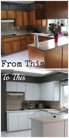 Painting Kitchen Cabinets: How I Transformed My 1970′s Oak Cabinets.