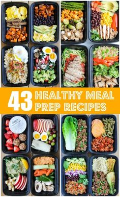 43 Healthy Meal Prep Recipes That'll Make Your Life Easier - gesunde KochrezepteThese healthy meal prep recipes for breakfast, lunch, dinner and snacks are super easy to make and so delicious. They'll make your life SO much easier! Clean Eating Recipes, Lunch Recipes, Easy Dinner Recipes, Breakfast Recipes, Easy Meals, Meal Recipes, Low Fat Meals, Lentil Recipes, Sandwich Recipes